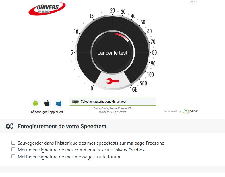 Présentation de la page dédiée aux speedtests