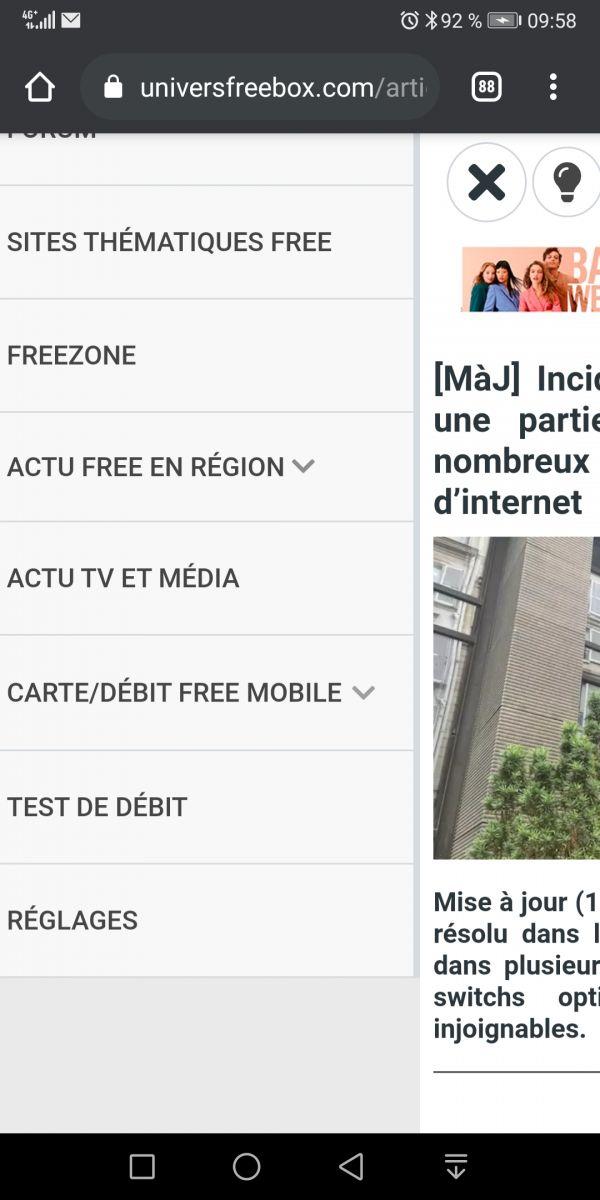 Page réglage disponible dans le menu mobile