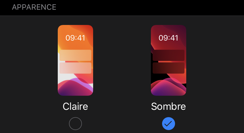 Activer mode sombre sur iOS